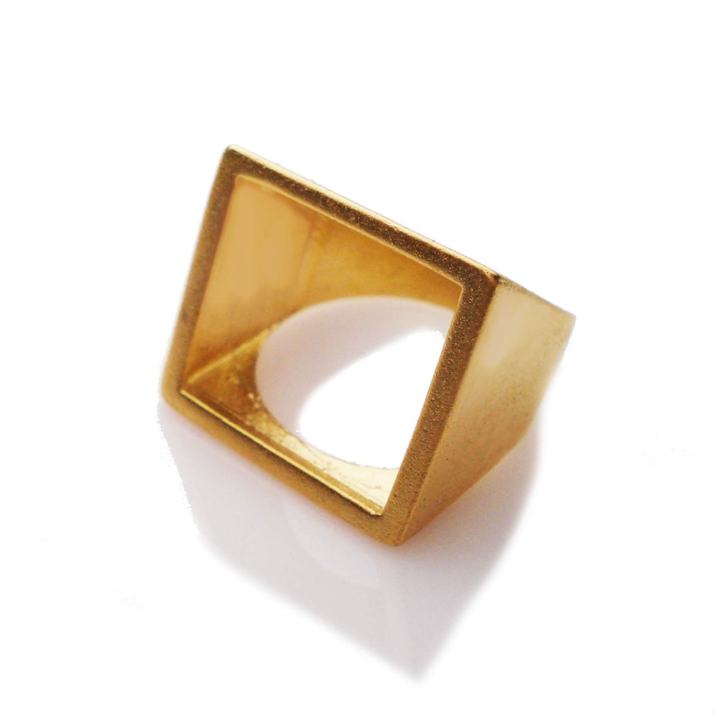 open square ring, brass geometric ring, square ring, minimalist ring square jewelry, geo ring, open square minimalist ring