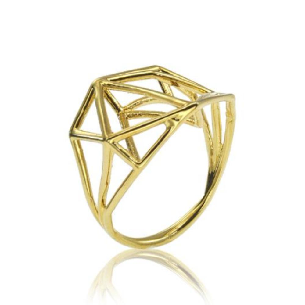 osnat har noy jewelry, 3D geometric ring,  minimalist ring, gold ring, geometric ring , geo brass ring, designer ring