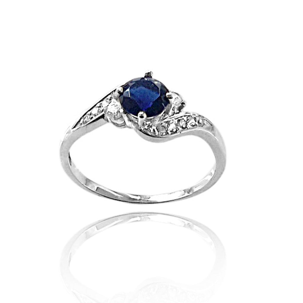 Round Sapphire and Diamond Ring in White Gold, Vintage Inspired Diamond and Sapphire Ring, Curvy Diamond and Sapphire Engagement Ring, sapphire and diamond ring, sapphire vintage ring, sapphire and diamond engagement rinh