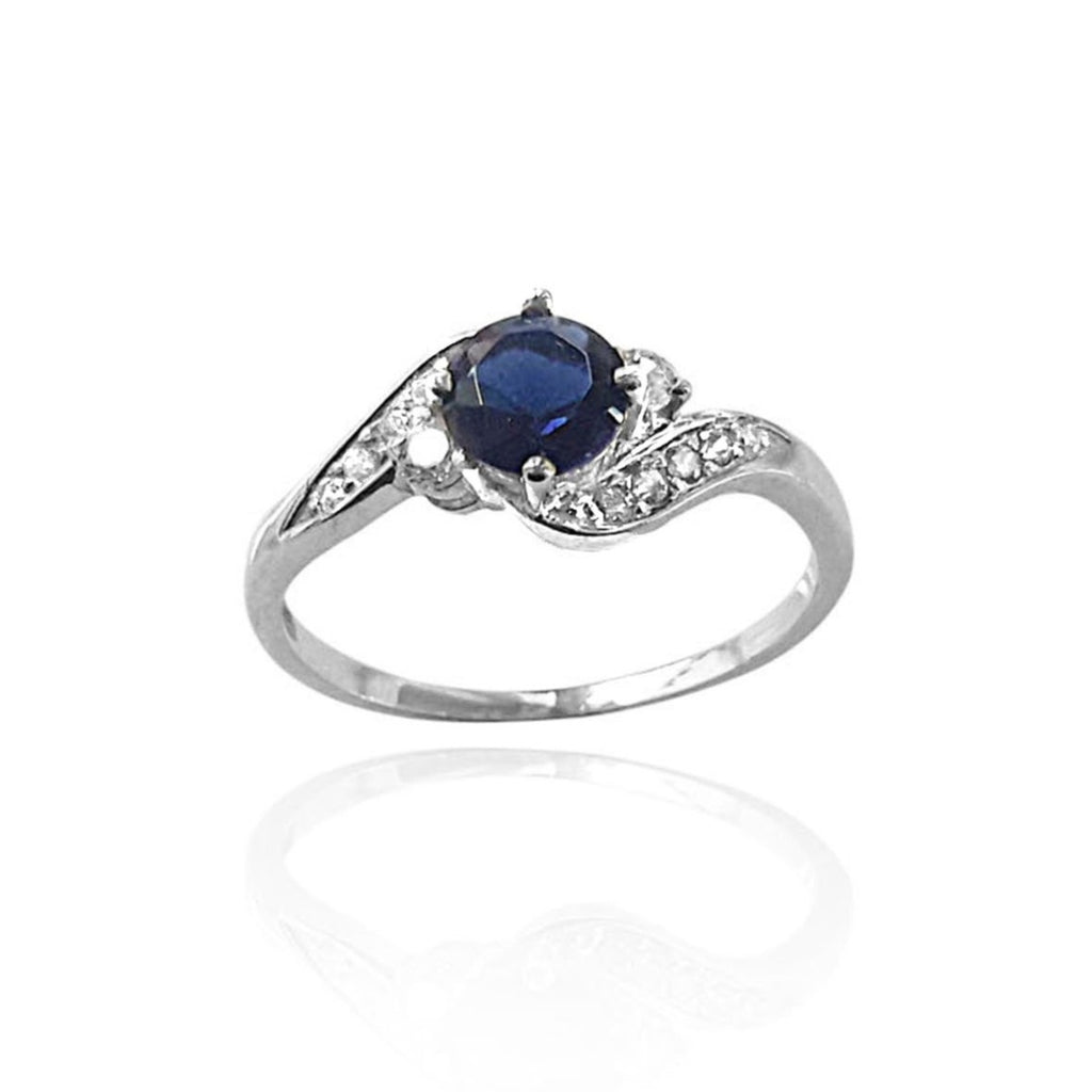 Round Sapphire and Diamond Ring in White Gold, Vintage Inspired Diamond and Sapphire Ring, Curvy Diamond and Sapphire Engagement Ring, sapphire diamond ring, sapphire vintage ring, sapphire and diamond engagement band, matching engagement ring