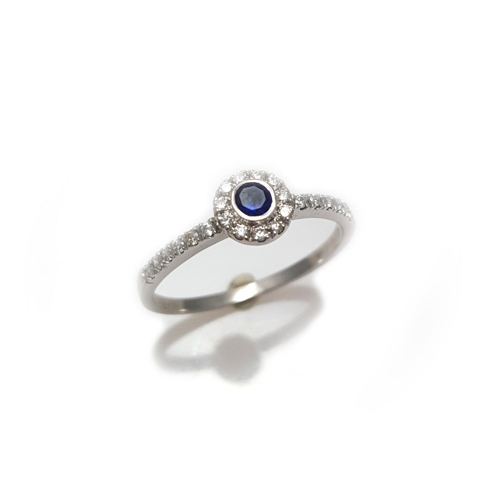 Round sapphire diamond halo  ring in white gold, round sapphire and diamond delicate ring, round sapphire pave diamond ring, unique engagement ring, sapphire ring, anniversary ring, sapphire engagement ring, sapphire band, wedding band