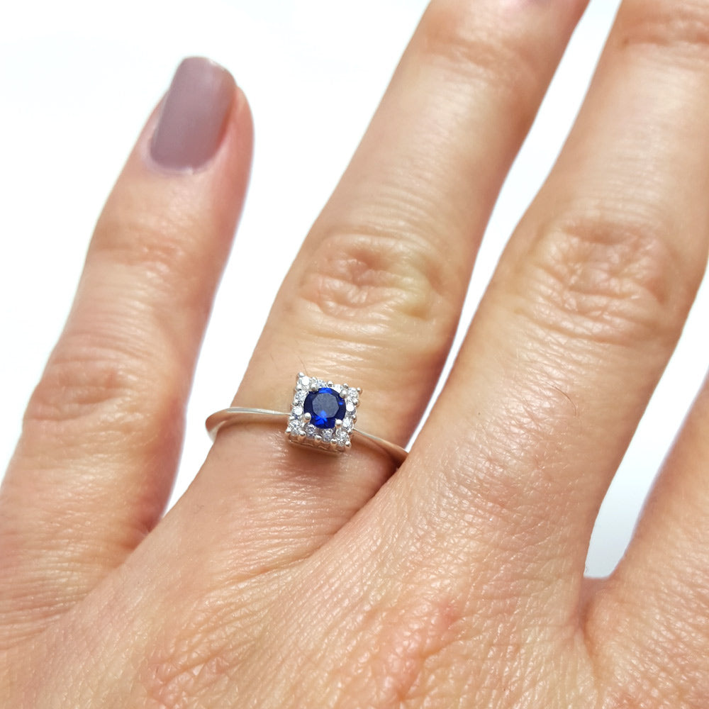 sapphire minimalist ring stacker, sapphire halo diamond ring, sapphire engagement ring stacker, unique engagement ring, sapphire ring, anniversary ring, sapphire engagement ring