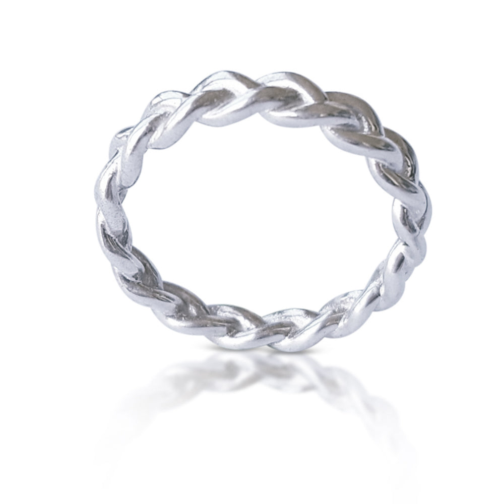 Braided Wedding Band in 18K White Gold