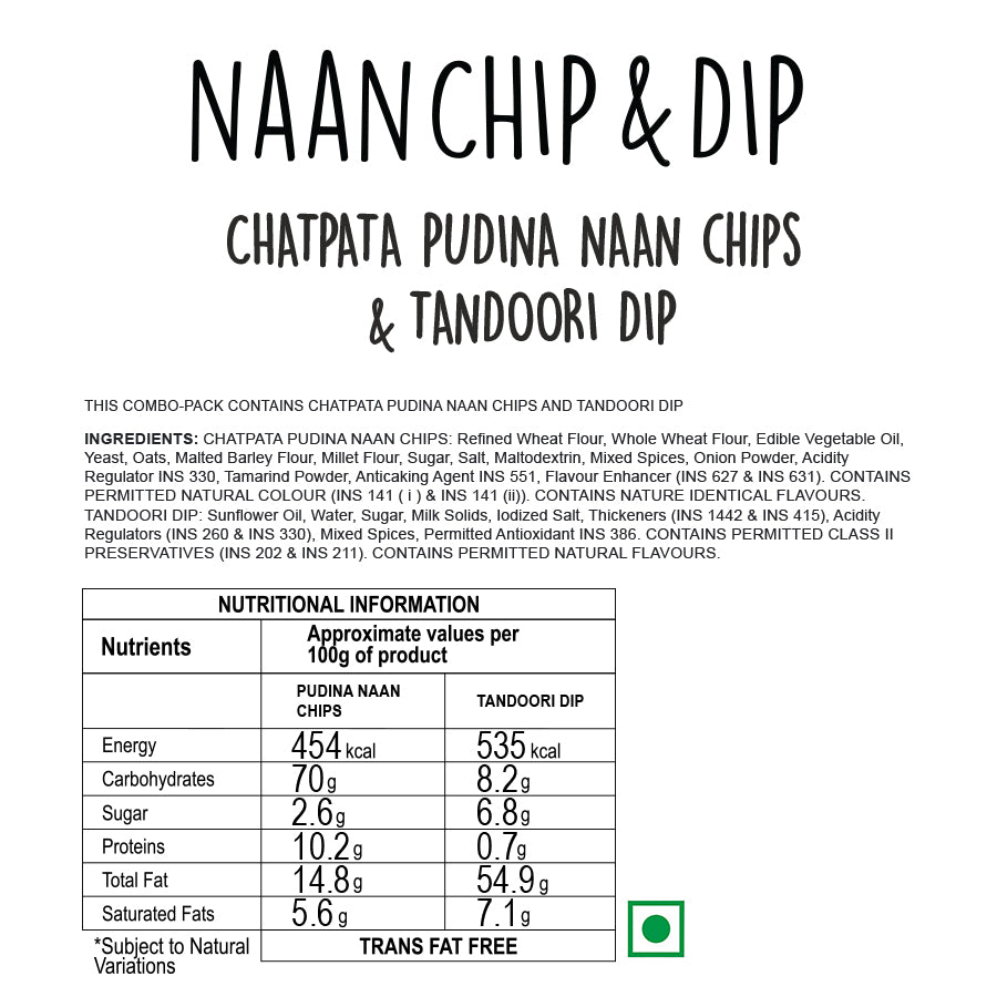 Chatpata Pudina Naan Chips with Tandoori Dip