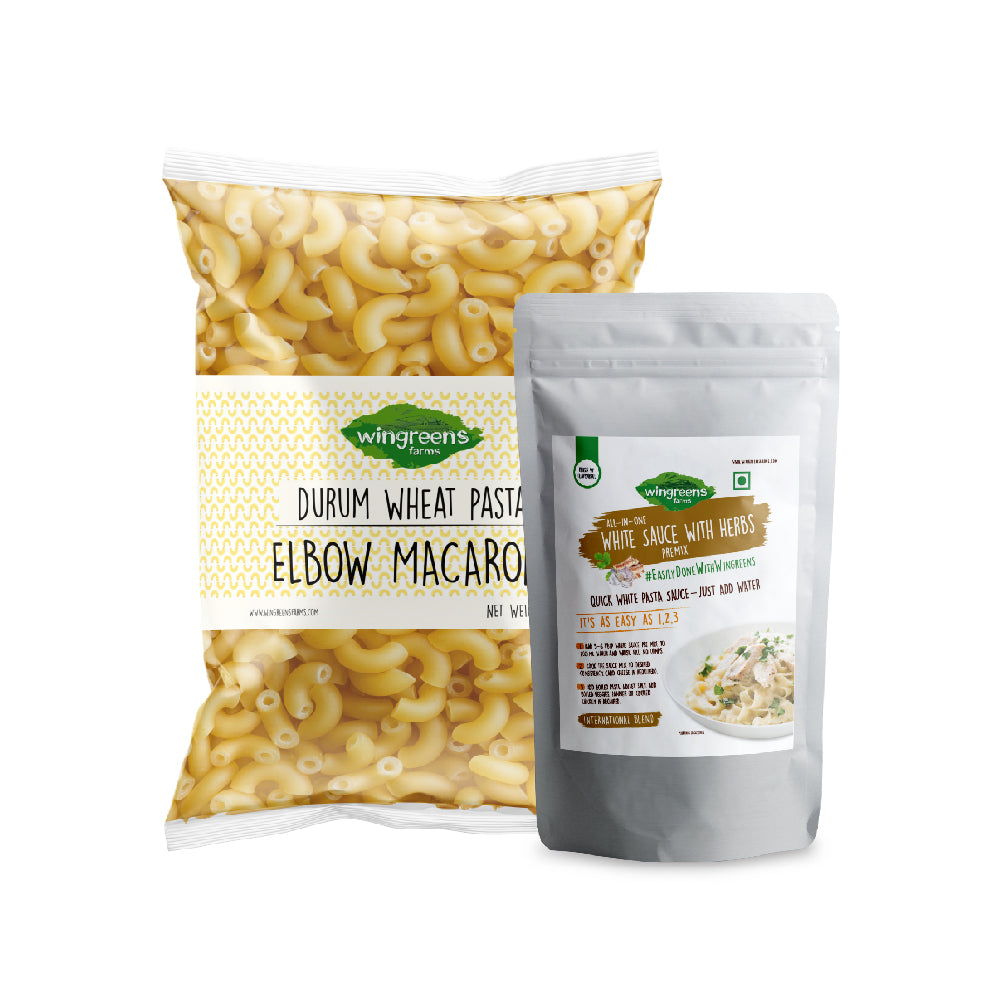 Durum Wheat Pasta - Elbow Macaroni (400g) with All-in-One White Sauce with Herbs (50g)