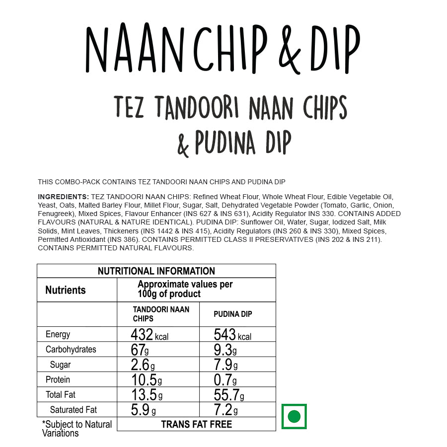 Tez Tandoori Naan Chips with Pudina Dip