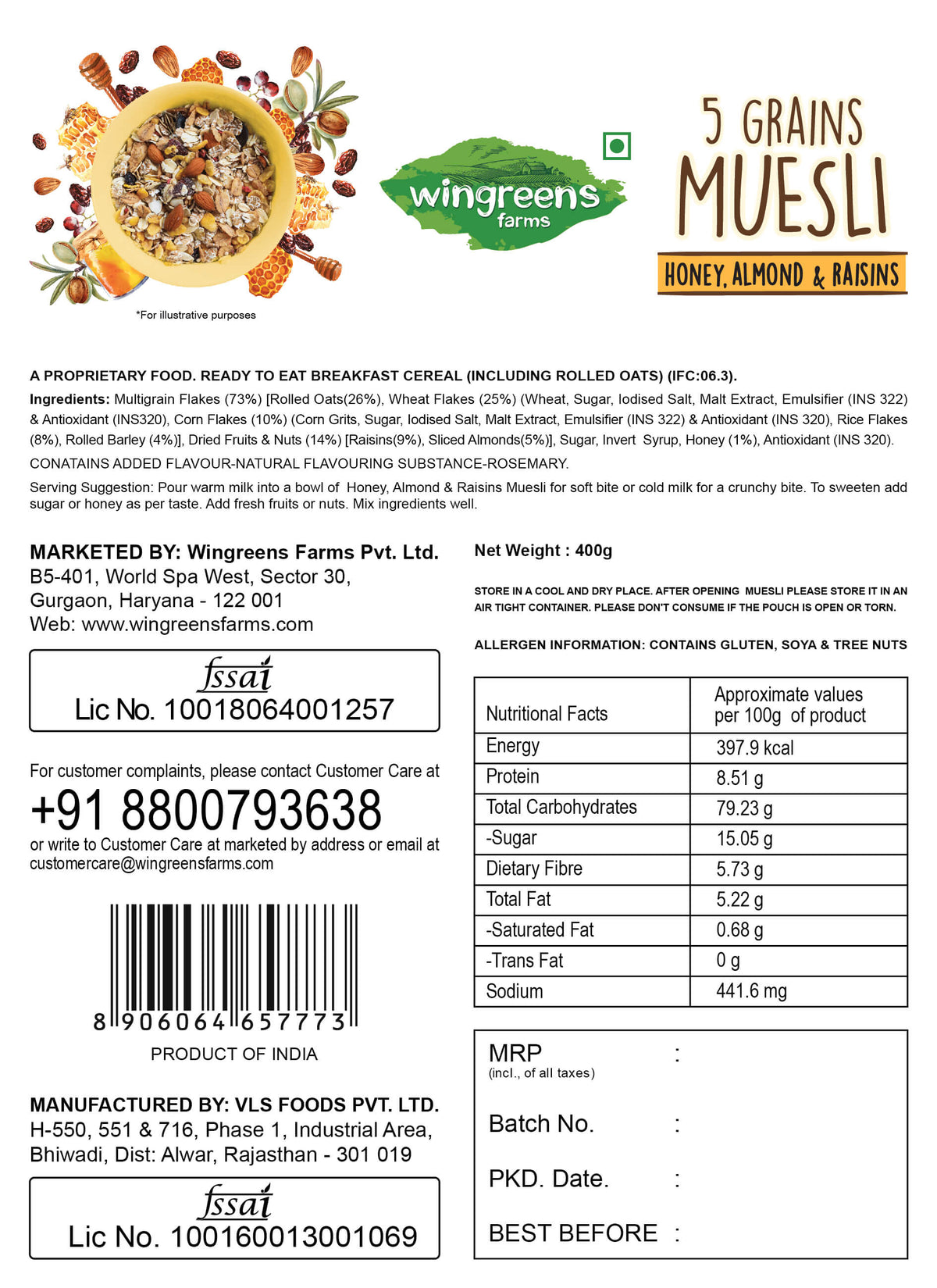 5-Grains Muesli - Honey Almonds & Raisins (400g)