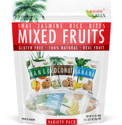 (BIG BAG) Paradise Green - Thai Jasmine Rice Bites MIXED FRUITS - 3 Flavors (Mango, Coconut, Banana)