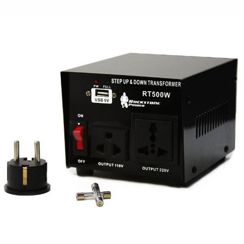 Rockstone Power 500 Watt Heavy Duty Step Up/Down Voltage Transformer Converter - Step Up/Down 110/120/220/240 Volt - 5V USB Port - CE Certified [3-Year Warranty]