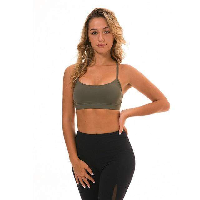 Sandie Cheeks Sports Bra Olive green / L Y-Type Sports Bra