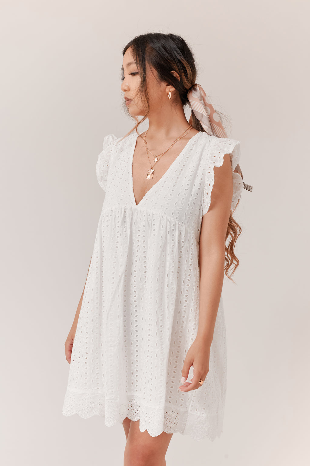 Tulip Romper Dress - White