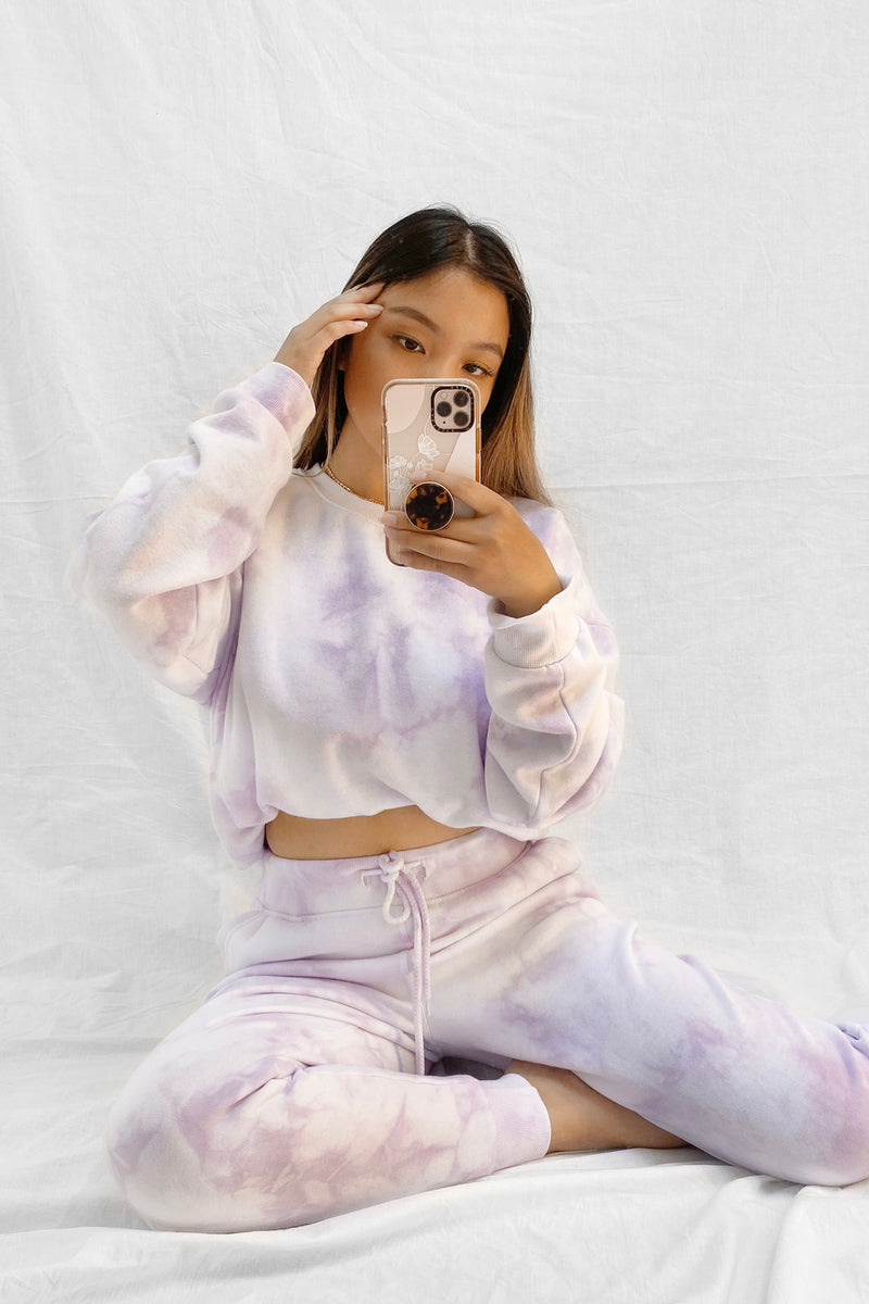 wild rina wildrina.com lavender purple tie dye set sweatpants jogggers sweats sweatshirt sweater crewneck