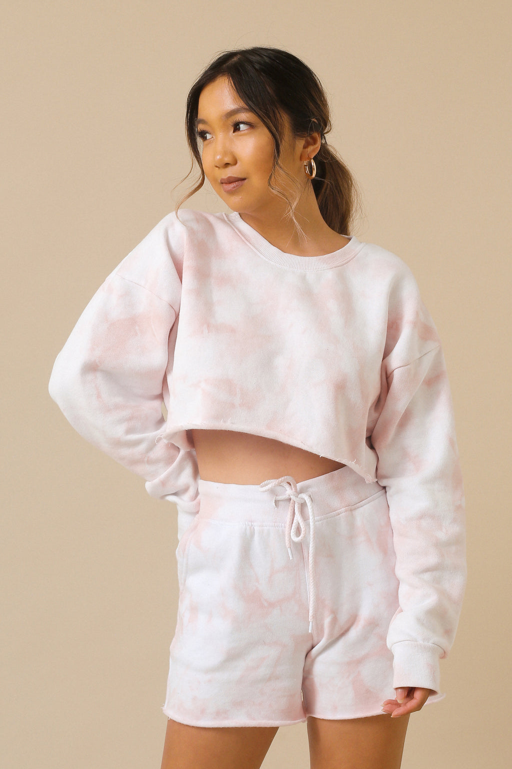 Blush Pink Tie Dye Crop Sweater