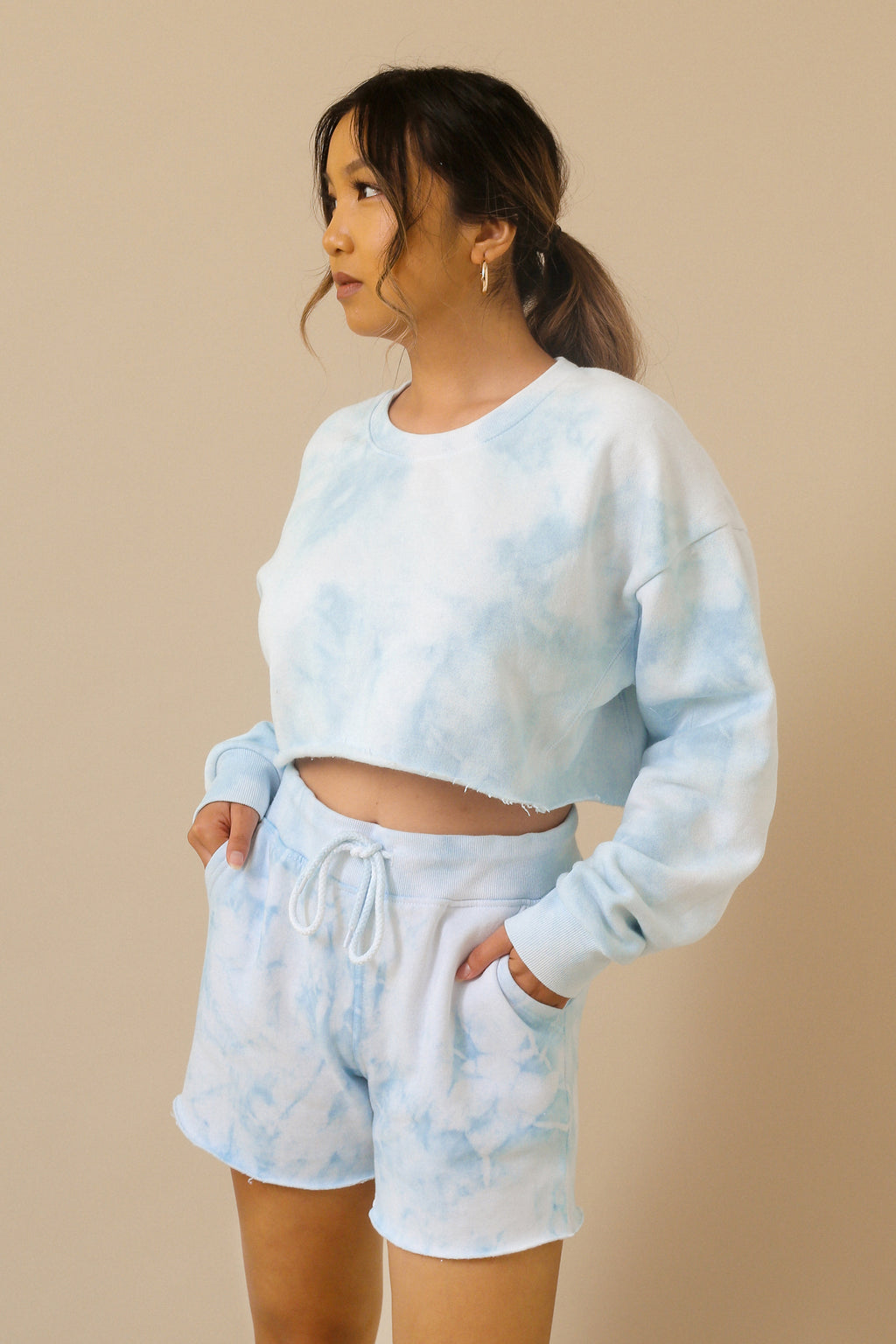 wild rina womens boutique trendy boho cute sweat shorts tie dye set loungewear sweatshorts sweatshirt crop longline shorts