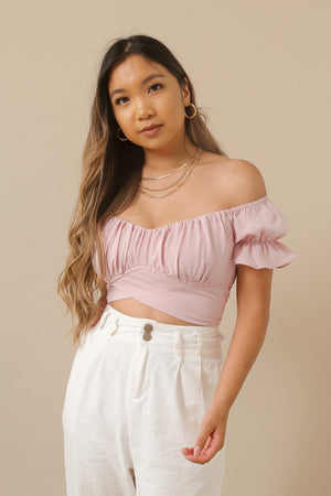 WildRina.com Wild Rina Women's Boutique | pink Weekend Stroll Top | Crop Wrap Peasant off the shoulder top with puff sleeve detail
