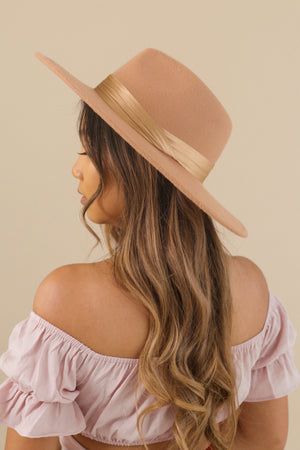 wild rina womens boutique trendy boho cute felt hat fedora hat wide brim tan silk band
