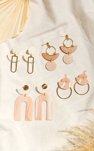 wild rina womens moden boho boutique clay handmade pink white gold rainbow cute earrings