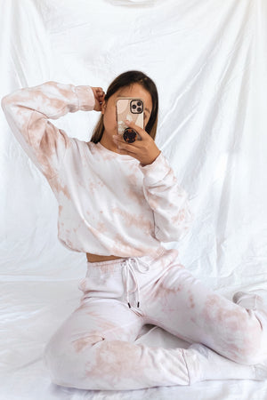 wild rina wildrina.com pink blush pink nude tan brown tie dye set sweatpants jogggers sweats sweatshirt sweater crewneck
