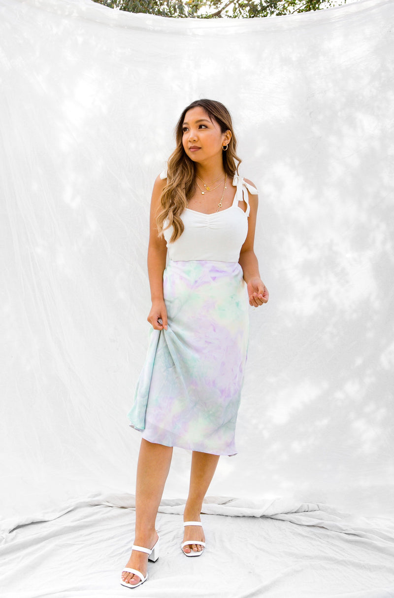 Wildrina.com Wild Rina womens boutique tie dye satin midi skirt blue green