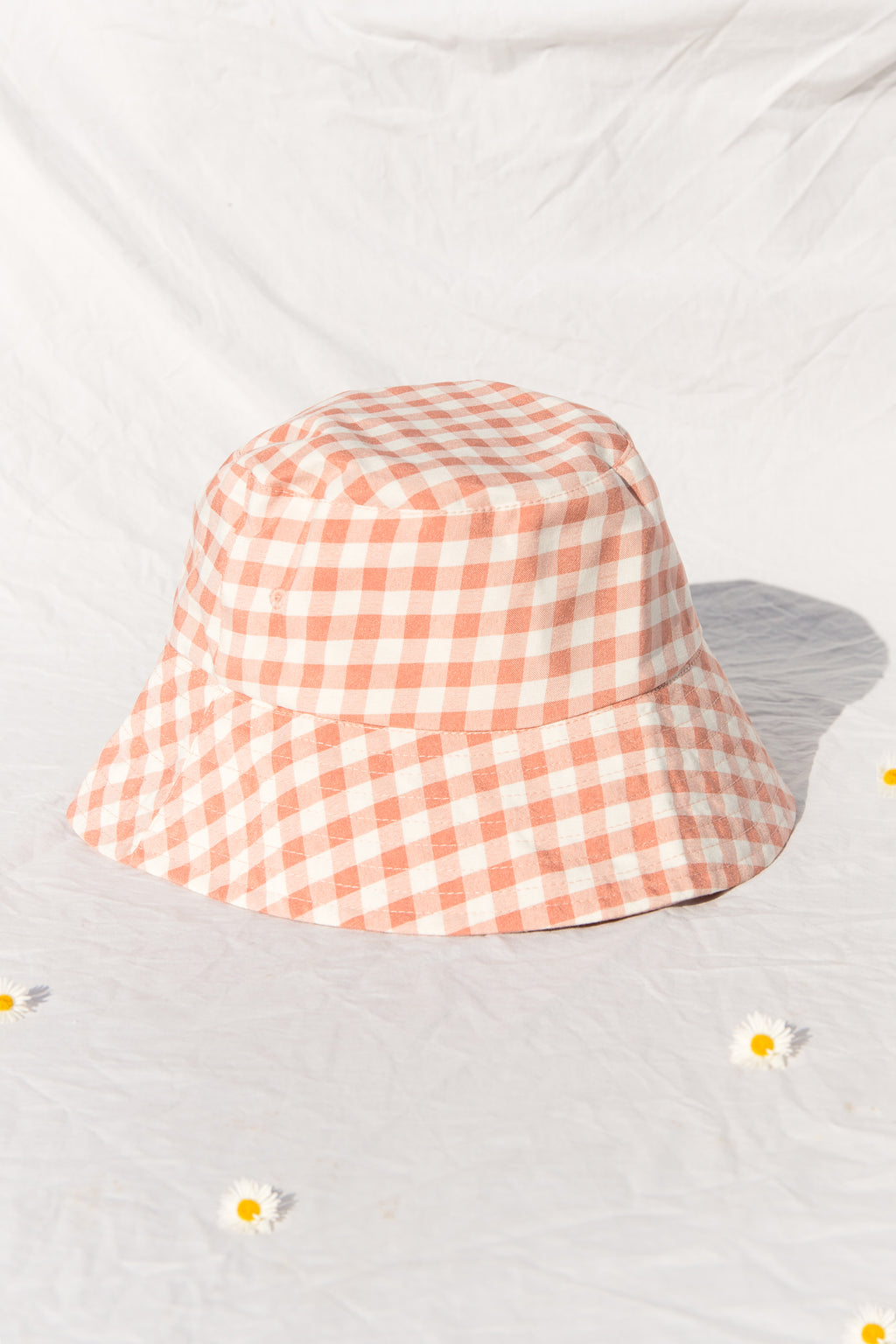 Mauve Gingham Reversible Bucket Hat