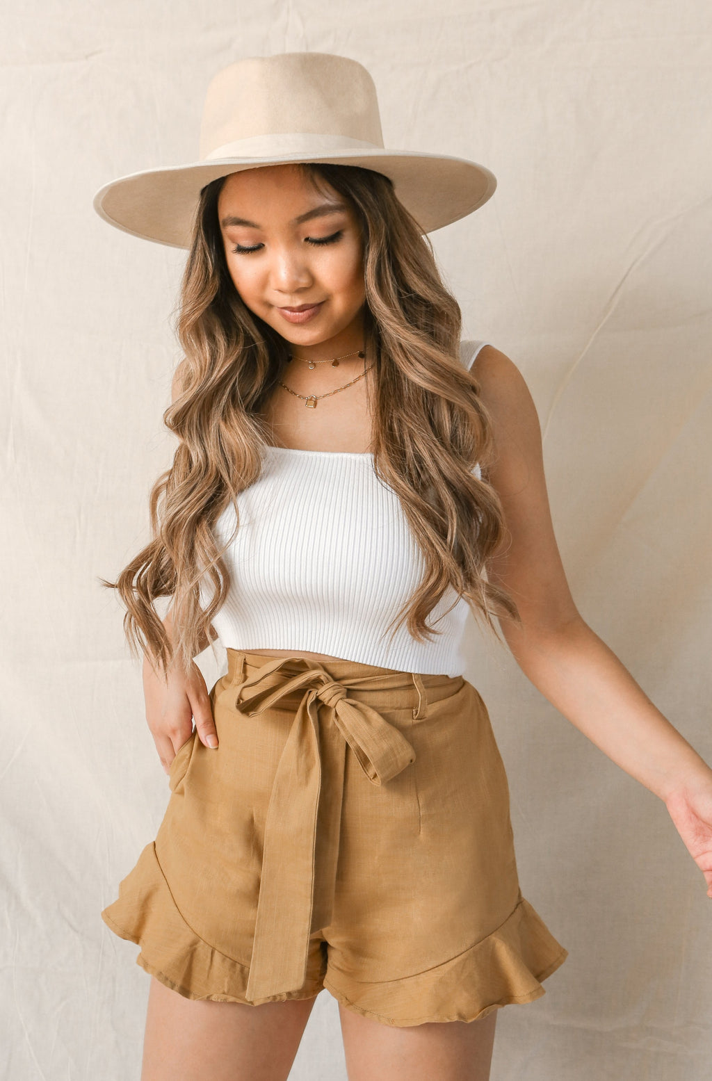 wild rina wildrina.com womens boutqiue boho style mustard yellow tan brown ruffle short belt tie cute girly bottoms shorts