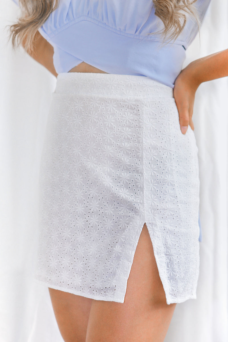 wild rina wildrina.com womens boutique, white linen skirt, mini skirt, skirt, white skirt, eyelet skirt, slit skirt, cotton skirt, high waist skirt, womens style