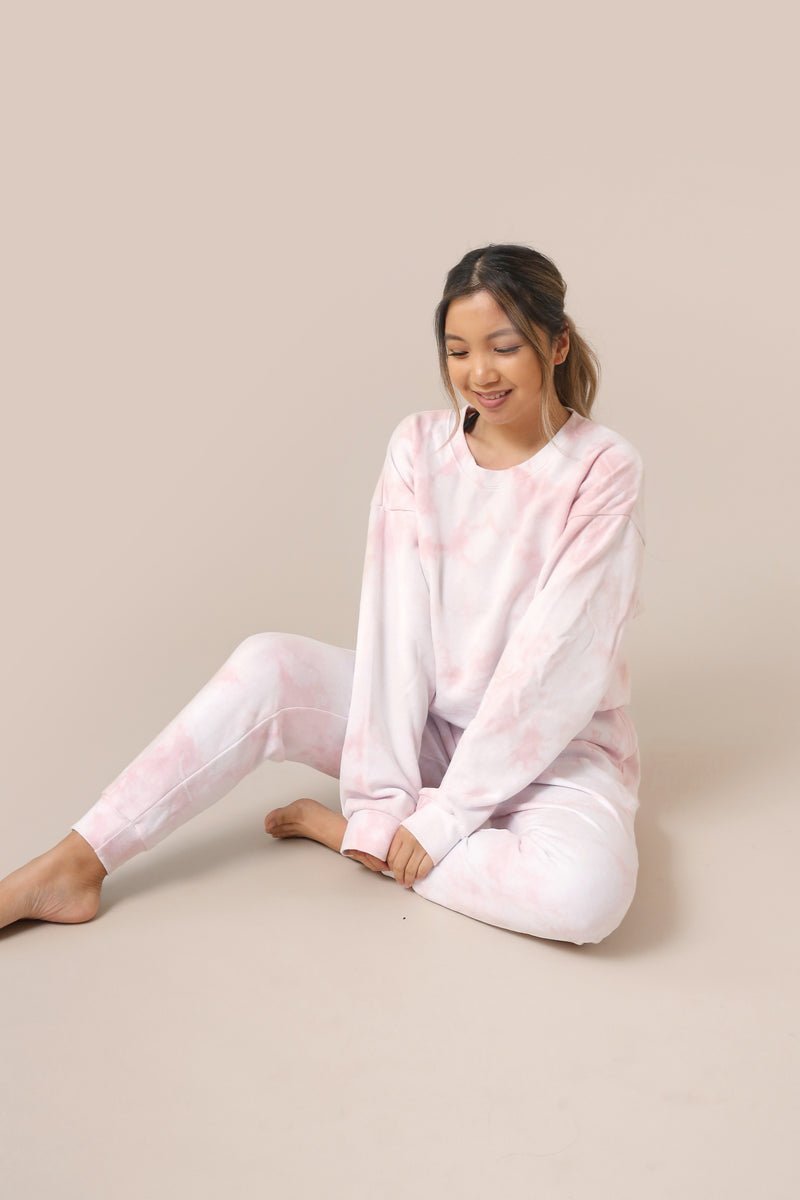 wild rina wildrina.com baby pink light pink blush tie dye matching set sweatpants jogggers sweats sweatshirt sweater crewneck loose comfy loungewear