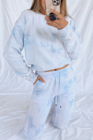 wild rina wildrina.com baby blue light blue cloud tie dye matching set sweatpants jogggers sweats sweatshirt sweater crewneck loose comfy loungewear