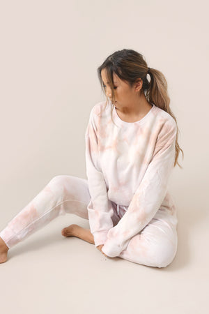 wild rina wildrina.com pink blush pink nude tan brown tie dye set sweatpants jogggers sweats sweatshirt sweater crewneck matching loungewear