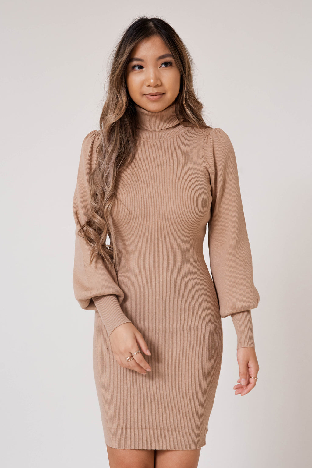 Warm Caramel Knit Dress