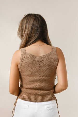 wild rina womens boutique trendy boho cute knit brown lace crochet sweater tank top sleeveless