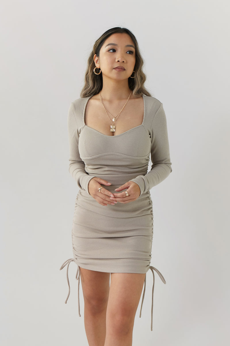 wild rina wildrina.com ruched knit ribbed tan beige brown long sleeve square neck tie side bodycon ribbed tight mini short midi dress
