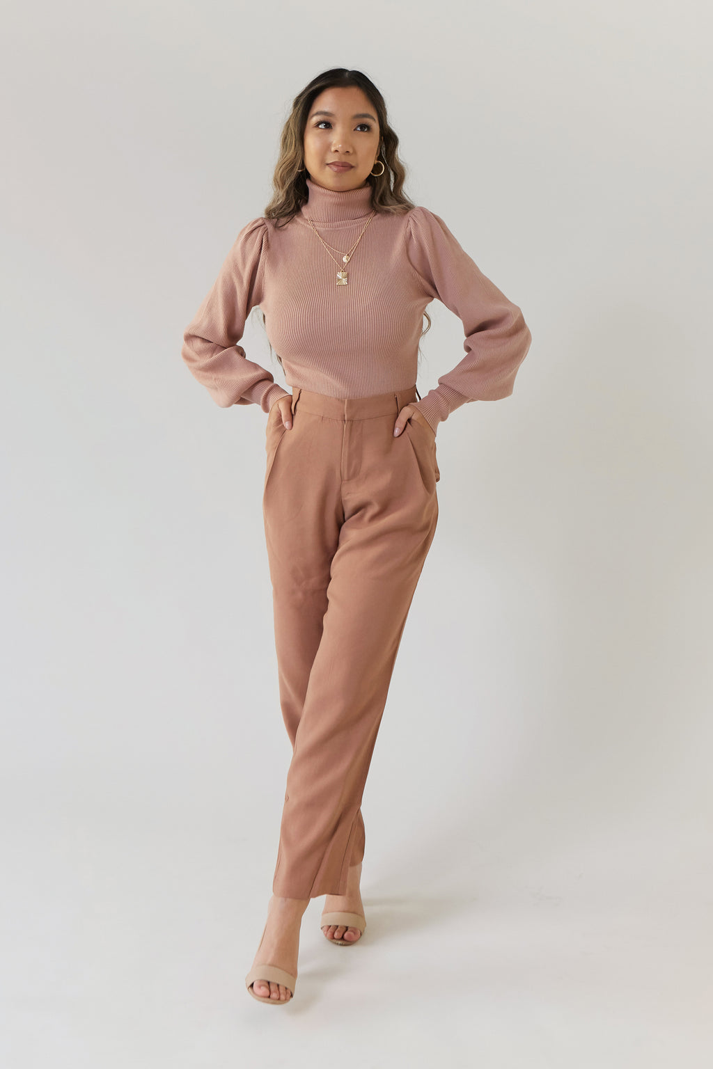 wild rina wildrina.com tapered high waist pants trousers red brown tan beige button skinny linen pant
