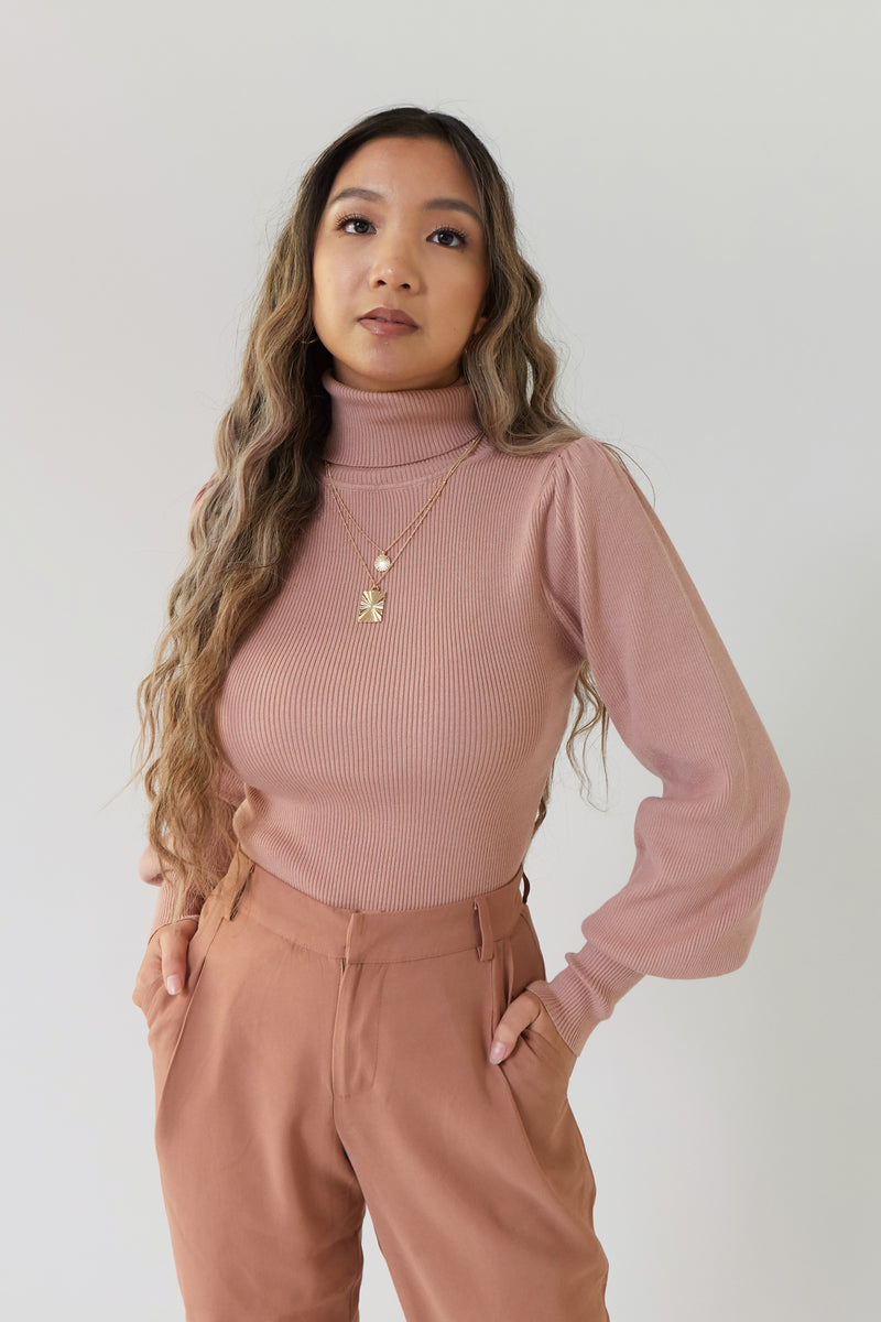 wild rina wildrina.com turtle neck balloon sleeve statement shoulder pink dusty rose mauve  knit ribbed long sleeve sweater