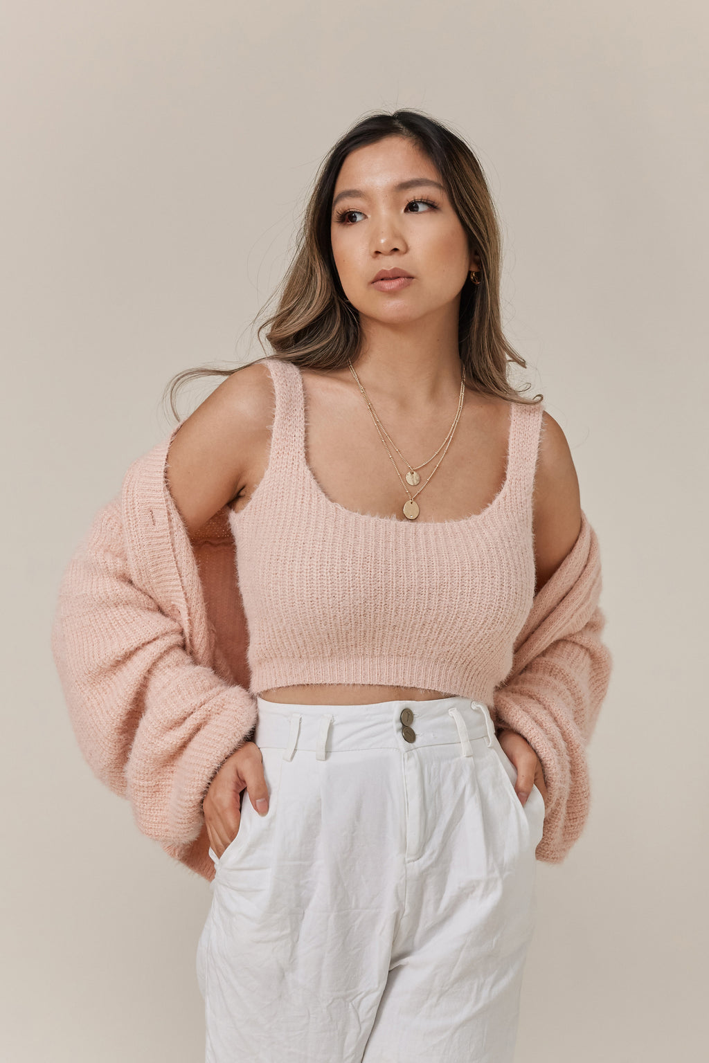 wild rina wildrina.com women's clothing boutique eyelash sweater and tank top set pink blush cropped balloon sleeve cardigan