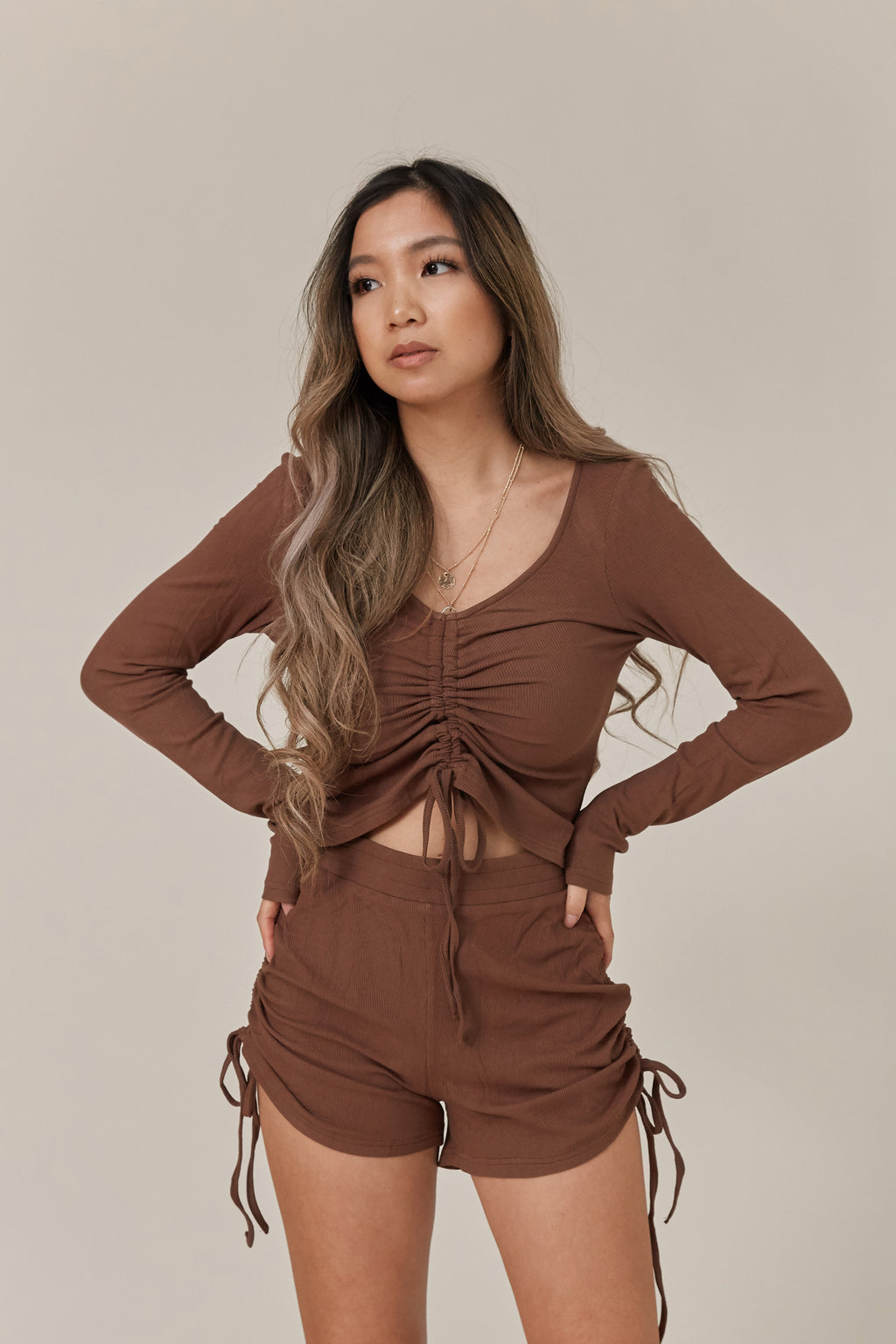 wild rina wildrina.com ruched knit chocolate brown shorts long sleeve set lougewear soft comfy home wear