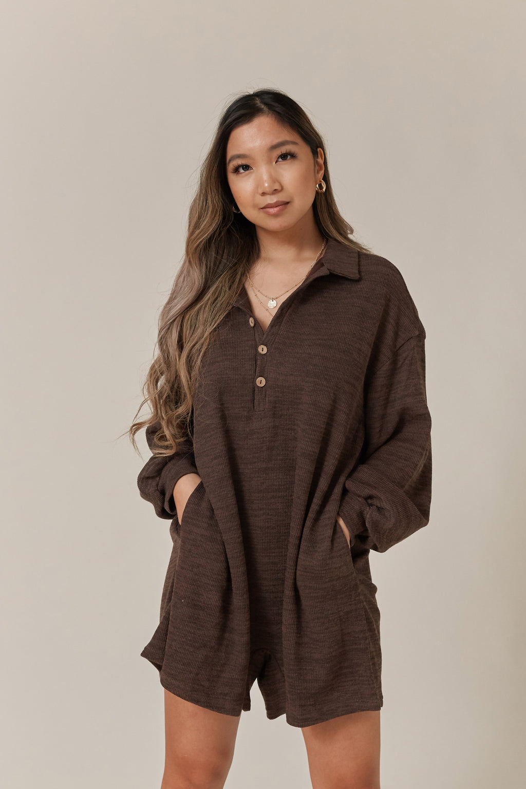 wild rina wildrina.com women's clothing boutique picnic knit brown romper free people button collar comfy loungewear