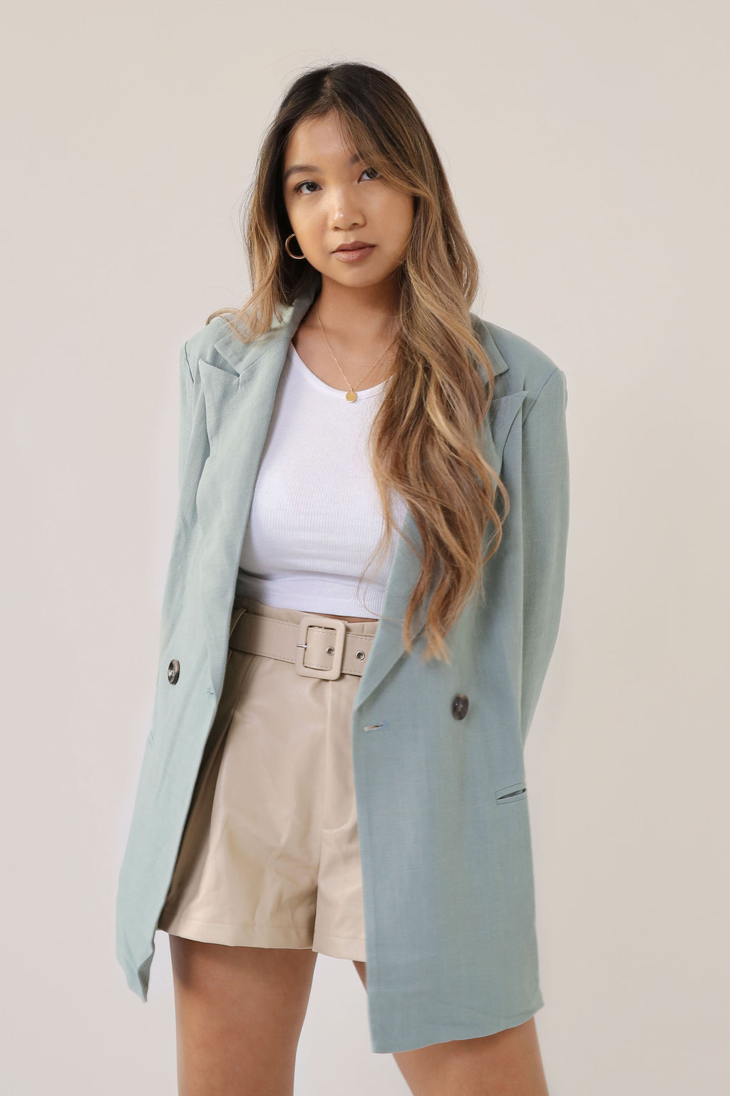wild rina womens moden boho cute trendy boutique sage green mint longline oversized blazer boyfriend