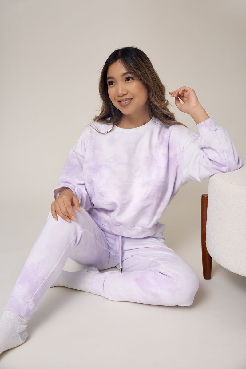 wild rina wildrina.com purple lavender tie dye set sweatpants jogggers sweats sweatshirt sweater crewneck matching loungewear