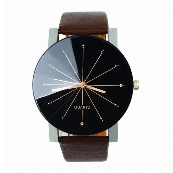 Mens Watches, Leather Round Case Casual