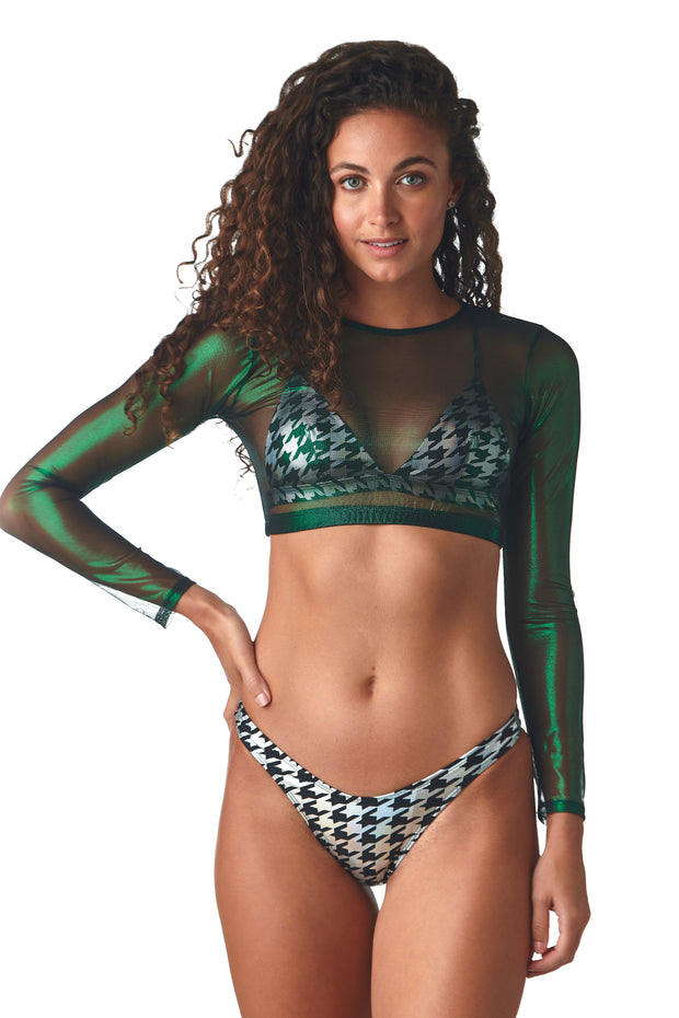 Metallic Green Thunderball Crop Top