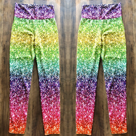 Glitter Rainbow Print Leggings