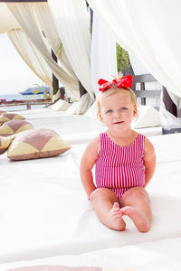 Girls Pink Striped Swimsuit