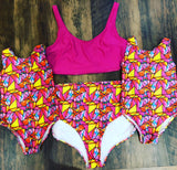 Girls Pink Geo Swimsuit
