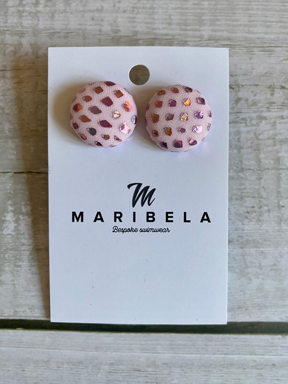 Pink Sparkle Stud Earrings