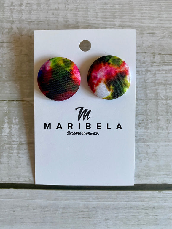 Neon Tie Dye Stud Earrings