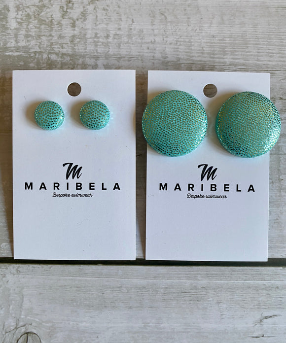 Aqua Shine Stud Earrings