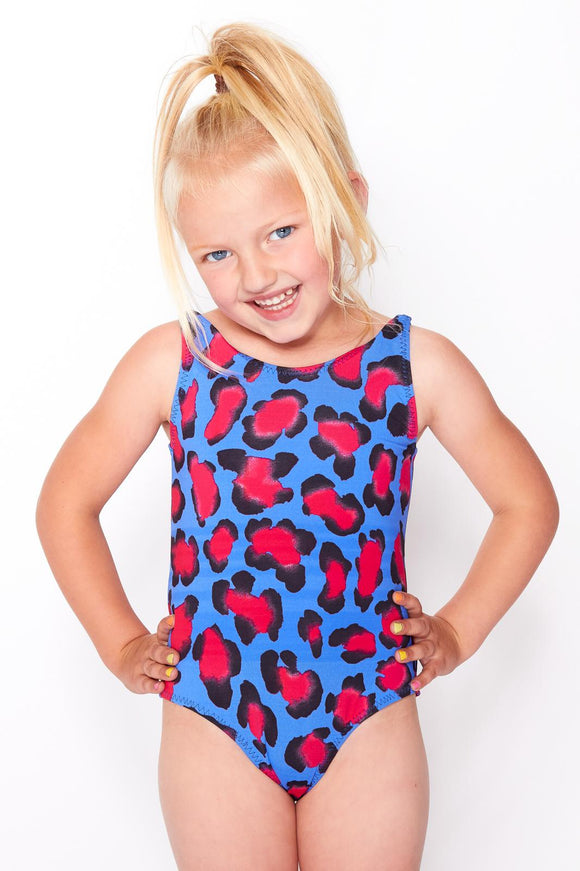 Girls Blue Leopard Swimsuit