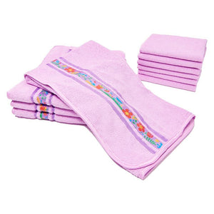 A Cleaner Home 10pc Microfiber Kitchen Towels w/ Ribbon Trim by Aslett - Don Aslett