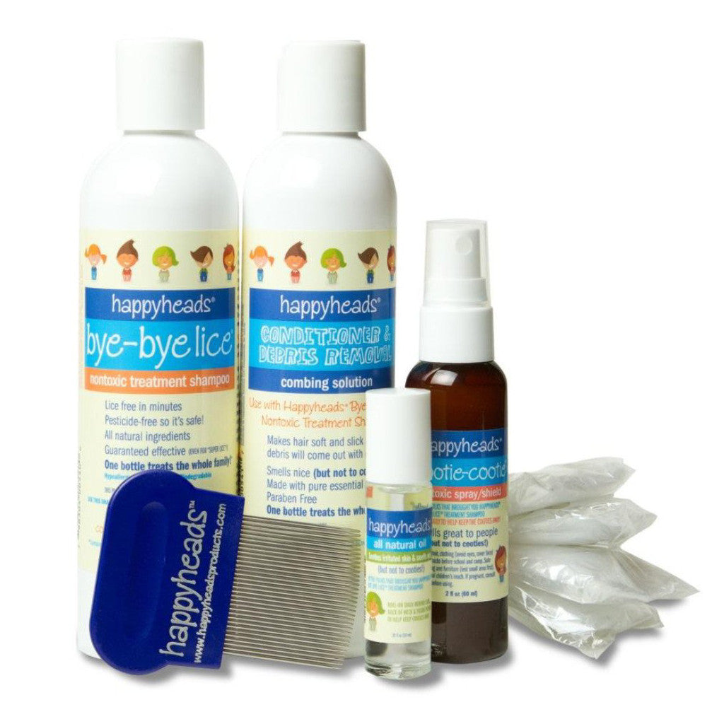 Happyheads® Bye-Bye Lice® Family Treatment Kit includes treatment shampoo, combing solution, nontoxic spray/shield and roll-on oil, 4 plastic caps, metal nit comb.